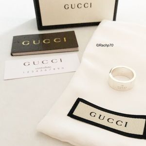 New Authentic Gucci Trademark Logo Ring Size 5.5